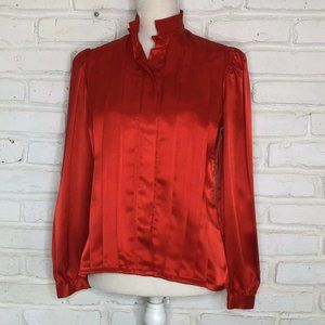 Red Pleated Kung Fur Collar Flowing Silky Blouse